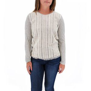 J. CREW Lace Front Long Sleeve Top #C03